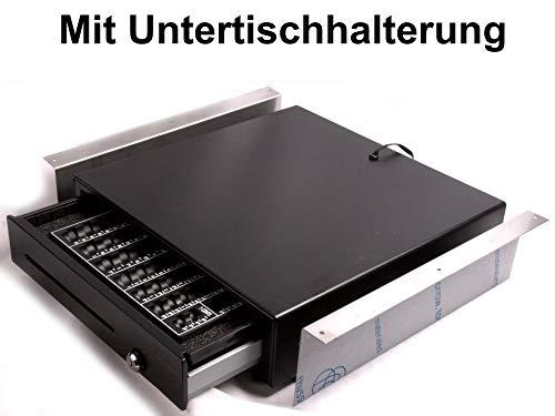 Kassenlade mit Münzbrett und Untertischhalterung iQCash410CU 41x41x10cm / Zähleinsatz Kassenschublade Geldlade Zählbrett