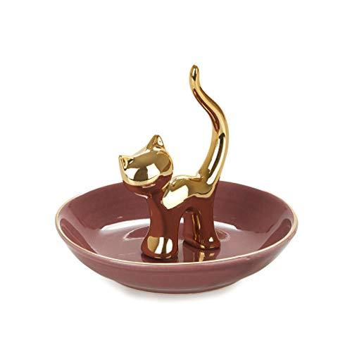 balvi Ringhalter Gatto Farbe Gold Dekorieren Sie Ihr Schlafzimmer mit diesem originellen Ringhalter in Form Einer Katze aus Porzellan Elegantes und stilvolles Design Porzellan 9 x 10 x 10 cm