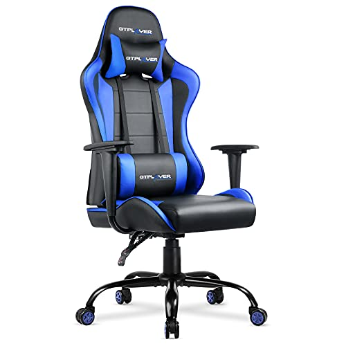 GTPLAYER Gaming Chair Office Desk Chair Swivel Heavy Duty Chair Ergonomic Design with Cushion and Reclining Back Support(Blue)