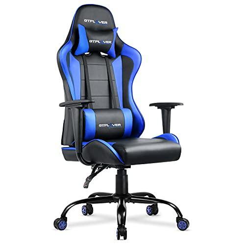 GTPLAYER Bürostuhl Gaming Stuhl Schreibtischstuhl Drehstuhl Ergonomisches Design mit Kissen und Rückenlehne Scharz-Blau
