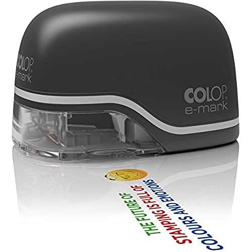 COLOP e-mark schwarz Mobiler Drucker für Profis bis zu 5.000 mehrfarbige Abdrucke inkl. kostenloser App Datums-, Uhrzeit- und Nummerierungsgenerator