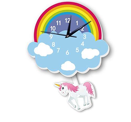FUTIIF Niños Lindo Dibujos Animados Columpio Reloj De Pared Decoración De Unicornio Reloj De Péndulo Creativo Animal Reloj 14 Pulgadas