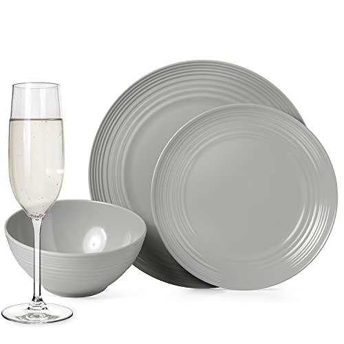 Juego de vajilla antideslizante de melamina para camping, color gris, para 4 personas, 16 piezas + 4 vasos Tiamo Champgner de platos, picnic, barbacoa, utensilios de cocina