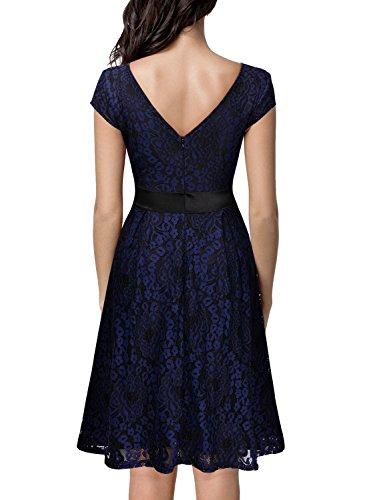 Miusol Damen Elegant?Bogen Guertel Hochzeit Brautjungfer Mini Spitzenkleider Abendkleider Navy Blau Gr.3XL - 2