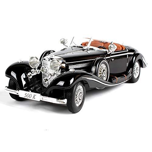 Maquetas de Coches Antiguos, Escala 1:18, Modelo de Automóvil Con Suspensión, Puerta y Capó, el Volante Está Conectado Con Las Ruedas Delanteras y se Puede Manipular el Modelo Completo, 28 cm,Black