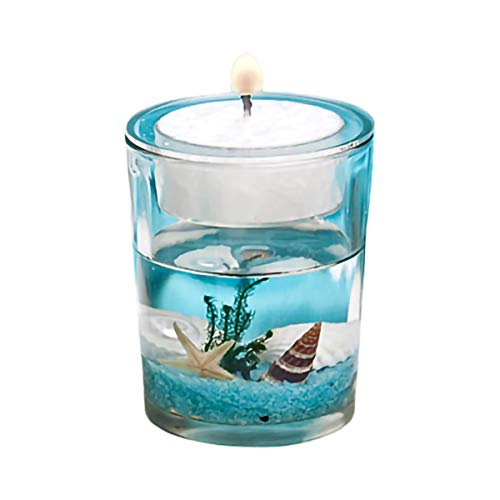 FashionCraft Stunning Beach-Themed Candle Favor, Tealight Candle Holders, with Tealight Candles - for Wedding Decorations, Party Favors, Home Décor, Blue, 5456 (1 pack)