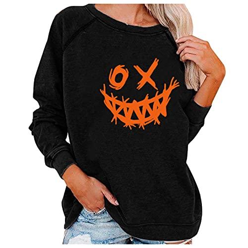 Sudadera de manga larga para mujer, cuello redondo, diseño de demonio sonriente, para primavera y otoño, básica, 01#negro, XXL