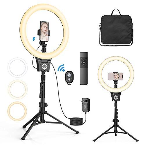 """12"""" Anillo de luz LED, Aro de Luz con 43-135cm Trípode, 30 Brillo 6000K 3 Modos, Control Remoto Bluetooth, Soporte Giratorio de teléfono, Bolso, Adaptador, para Selfie/Maquillaje/Vlog/Youtube"""