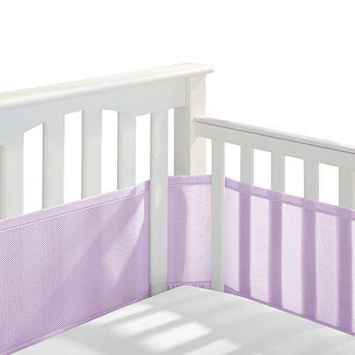 BreathableBaby Classic Patented Safer for Baby Anti Bumper Non Padded Breathable Mesh Crib Liner  Lavender