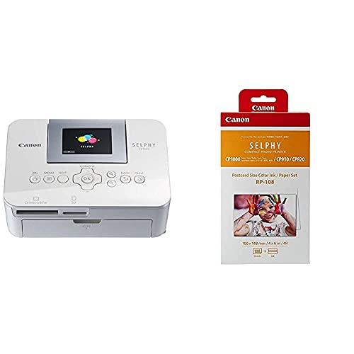 Canon Selphy Cp1000 Impresora fotográfica + RP-108 Papel fotográfico y Cartucho de Tinta Original para Selphy CP, Color Blanco, 20 x 12 x 8 cm