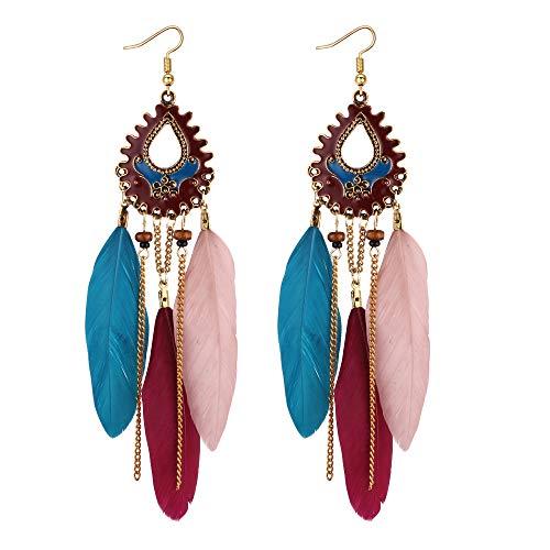 YAZILIND Retro Geometry Long Tassel Feather Earrings Ethnic Drop Dangle Women Jewellery(Color)