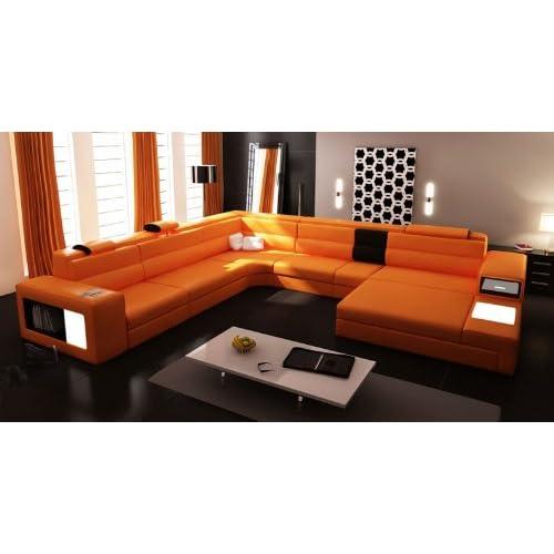 Amazon.com: 5022 Orange Top Grain Italian Leather Living ...