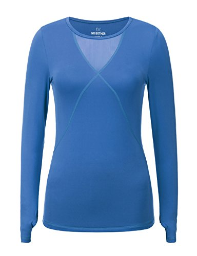Regna X NO Bother Women's Scoop Neck Long Sleeve Dri-Fit Soft Gym Workout Shirts