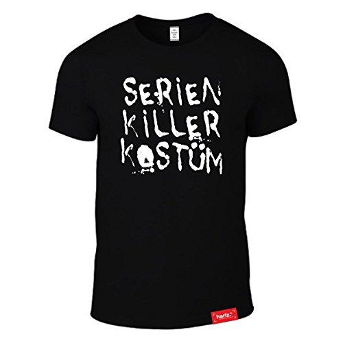 HARIZ #Karneval: Original Collection T-Shirt // 36 Designs wählbar // Schwarz, S-XXL // Fasching I Halloween I Altweiberfastnacht I Verkleidung #Karneval12: Serien Killer Kostüm XL