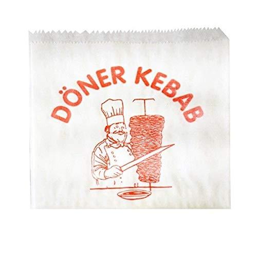 sellaviva Döner-Tüten Papier, Weiss, mit Aufdruck - 100 Kebab-Taschen