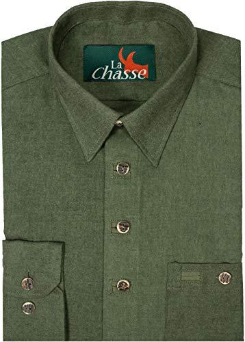 La Chasse Holzfällerhemd Flanellhemd mit 1 geknöpften Brusttasche Jagdhemd Winterhemd Freizeithemd Outdoorhemd dick & warm Herren Hemd Langarm hochwertig & robust (47/48)