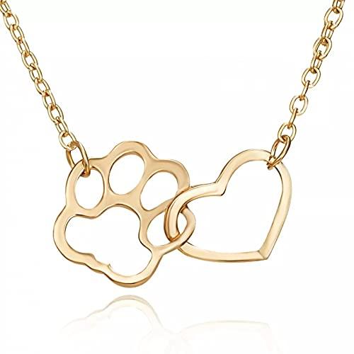 SOTUVO Collar Lindo Gato Perro Garra corazón Collar para Mujer niña Animal Mascota Accesorios de joyería Moda Animal Collar Colgante Fiesta