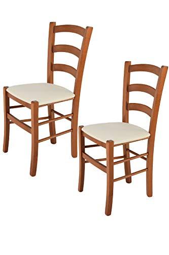 Tommychairs - Set 2 sillas Venice para Cocina y Comedor, Estructura en Madera de Haya Color Cerezo y Asiento tapizado en Tejido Color Marfil