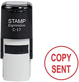 StampExpression - Copy Sent Round Office Self Inking Rubber Stamp - Red Ink (A-6983)