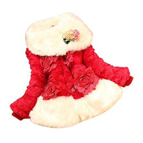 JIANLANPTT Furry Turn-Down Collar Flowers Winter Warm Faux Fur Coat Kids Girls Outerwear Jacket 6-7Years Red 1
