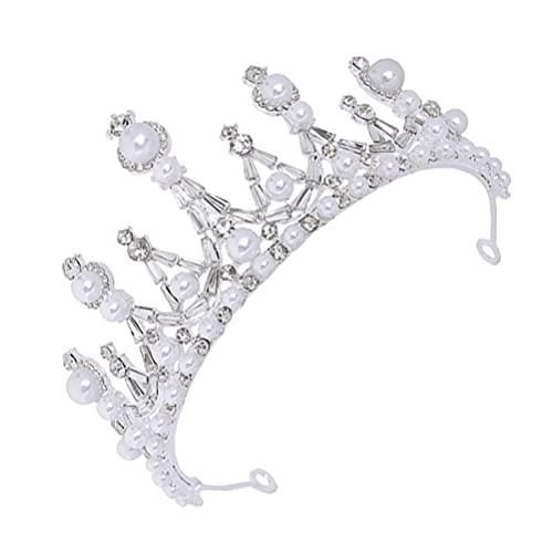 Minkissy de Boda Barroca Perla Novia Tiara Cristal Diamante de Imitación Perla Reina Desfile Cumpleaños Graduación Nupcial Heaband Accesorios para El Cabello para Mujeres