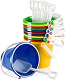 Top Race 5' Inch Beach Pails Sand Buckets and Sand Shovels Set for Kids | Beach and Sand Toys at The Beach | Use for Sand Molds at The Sandbox (Pack of 12 Sets)
