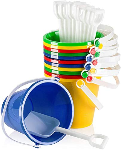 """Top Race 5"""" Inch Beach Pails Sand Buckets and Sand Shovels Set for Kids 