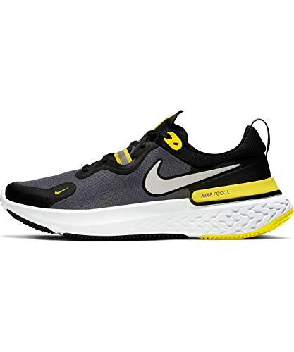 Nike React Miler, Zapatillas para Correr de Carretera para Hombre, Black White OPTI Yellow Dark G, 48.5 EU