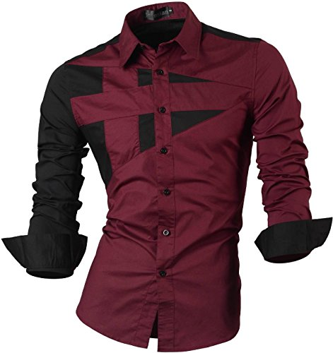 jeansian De Manga Larga De Los Hombres De Moda Slim Fit Camisas Men Fashion Shirts 8397 Winered M