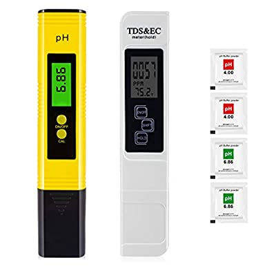 PPM Meter and pH Meter Combo,TDS-EC-Temp(3-in-1) TDS Meter with 0-9999PPM Range and ±2% Accuracy, pH Tester with 0-14 pH Rang and 0.01 Accuracy for Hydroponics,Aquariums,RO System etc by HYCT