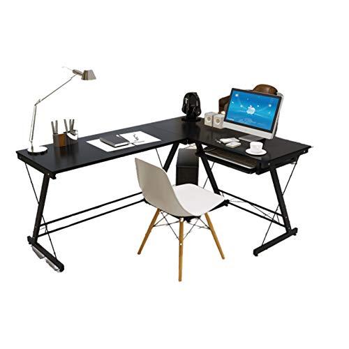 AIYIFU Mesa, Escritorio de Oficina L-Forma, Escritorio Esquinero para Ordenador, Ahorro deEspacio, Montaje Sencillo, para Estudio, Oficina, (161 * 120 * 74cm),Black