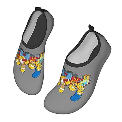 Sim-Psons - Scarpe da ginnastica da uomo, da donna, per nuotare all'aperto, nuotare a piedi nudi, per spiaggia, corsa, snorkeling, spiaggia, piscina, surf, yoga., Nero (Nero ), 38 EU