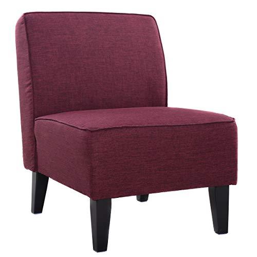 COSTWAY Polsterstuhl, Esszimmerstuhl gepolstert, Loungesessel ohne Armlehne, Designerstuhl mit eingebauten Sprungfedern, Akzentstuhl für Wohnzimmer, Schlafzimmer und Büro (Lila)