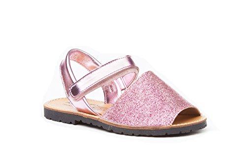 Sandalias Menorquinas para Niñas en Glitter y Piel Mod. 208. Calzado Infantil Made in Spain, Garantia de Calidad. (27, Rosa)