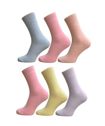 Lot de 6 Paires de chaussettes thermiques pour femme Couleurs Pastel Cols 37–39