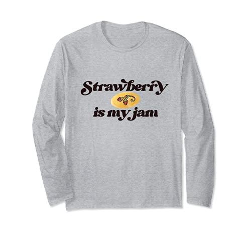 Strawberry is my Jam ストロベリーは私のジャムかわいい水彩ストロベリー 長袖Tシャツ