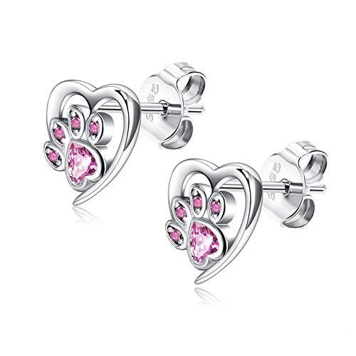 CQHUI Sterling Silver 925 Jewelry Animal Paw Pendientes Lindos para Las Mujeres Forma de corazón Azul Cubic Zirconia Stud Pendiente (Gem Color : PTEE0473 C)