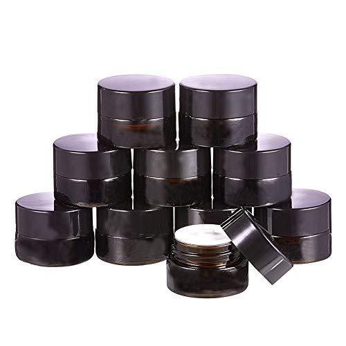 BENECREAT 10 Pack 5ml Tarro Ámbar de Vidrio Cosmético con Forros Interiores Blancos y Tapa Negra Prefecto para Crema Facial Loción
