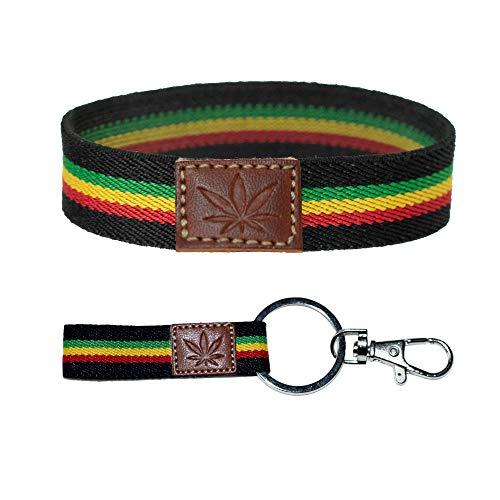 QUICKBOXX Pulsera Rasta Hippie Rastafari en Tela Elástica con Dibujo Planta Marihuana Jamaica en Cuero Bisuteria Mujer Hombre