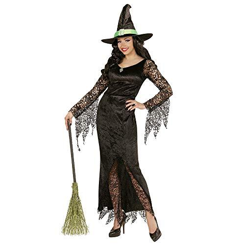WIDMANN Disfraz de Bruja para Adulto, Piedras Preciosas de Vestido y Sombrero