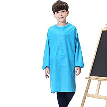 Kids Art Smock Painting Apron for Toddler Preschool Children with Pocket,Long Sleeves,Long Section,Waterproof  blue Large-XXXL
