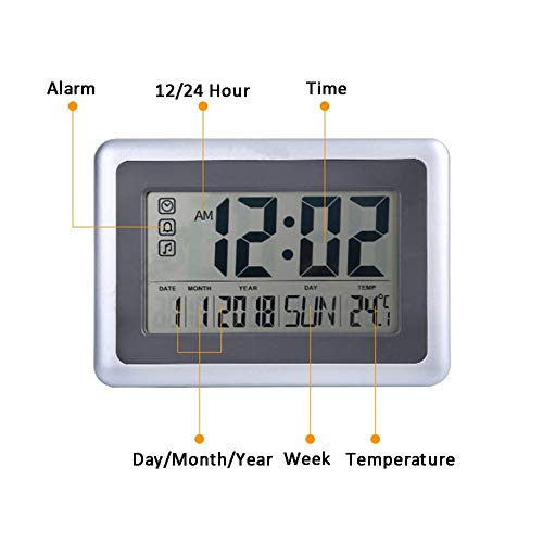 XASY digitale klok digitale wekker stijl, werkt op batterijen met jumbo-wandhouder, wekker, kalender, week temperatuur, voor thuiskantoor