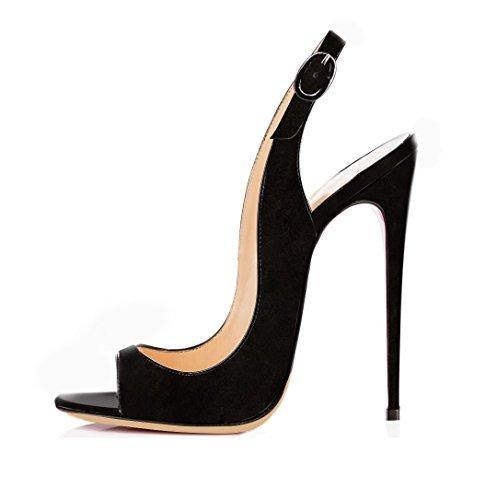 EDEFS Damen Riemchen Abend Sandaletten High Heels Pumps Slingbacks Peep Toes Party Schuhe Bequem,Suede Black EU37