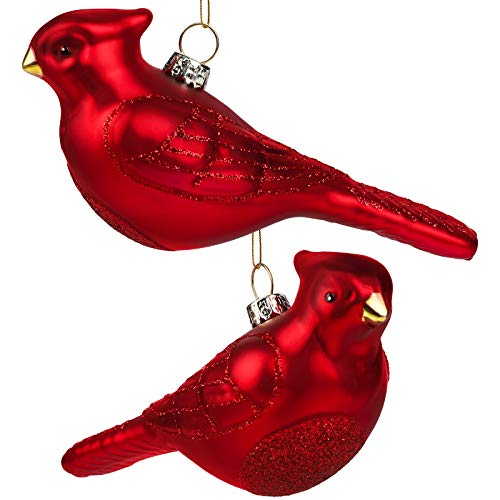 Elcoho Christmas 2 Pack Red Bird Glass Blown Ornaments for Christmas Tree, Northern Cardinal