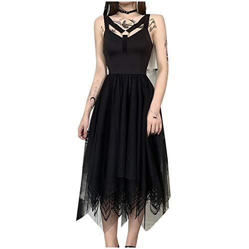 Zilosconcy Kleider Damen Sommer Gothic Kleidung Damen Palaststil Damen Cosplay Gothic Kleidung Spitze Mesh schwarz ärmellosfür Halloween Fasching Karneval Hexe Vampire Gothic Cosplay Kostüm Schlinge