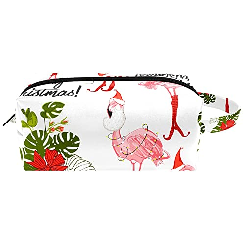 Lindo flamenco rosa con sombrero de Navidad, bolsa de cosméticos de viaje bolsa de cosméticos para mujer de piel de microfibra con cremallera
