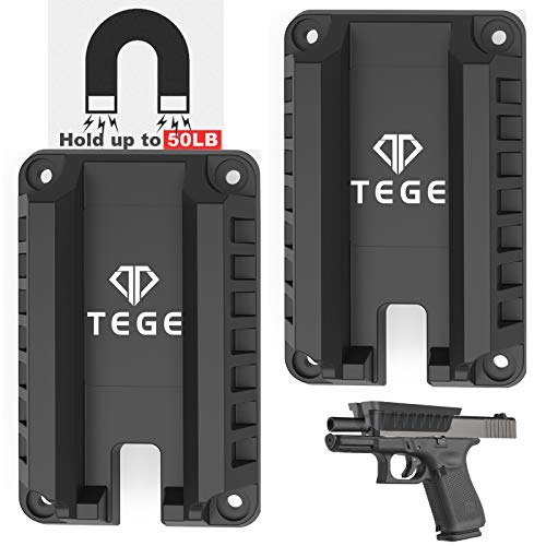 Gun Magnet Mount (55 lbs Rated), Fast Loaded Magnetic Gun Holster for Self Defense, Pistol Magnetic Holder for Vehicle and Home, Concealed Tactical Firearm in Cabinet,Vehicle,Truck,Cashier,Table,Car