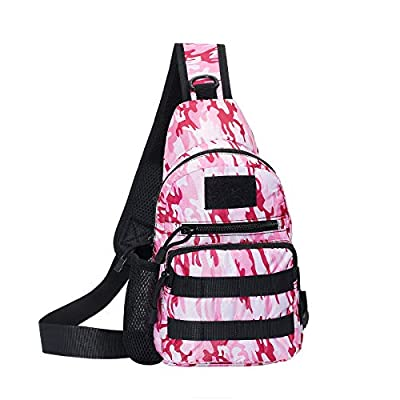 Armiya Men's Tactical Sling Bag, Small Shoulder Chest Molle Daypack Backpack for Cycling Hiking Camping Trekking (pink)