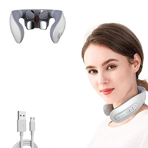 Masajeador cervical, masajeador eléctrico para cuello inteligente, fisioterapia electromagnética profunda, multifuncional, masaje de 6 modos, alivia el dolor, para uso doméstico en la oficina
