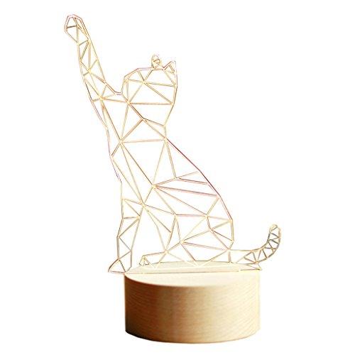 Veilleuses Lampes et éclairage Lampe de Table en Bois Massif Lucky Cat Chaton Forme de l'animal Lampe de Table 3D Anniversaire Saint-Valentin Cadeau (Size : Remote control12*22 cm)